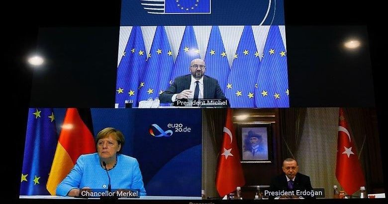 Son dakika: Başkan Erdoğan, Merkel ve Michel ile video konferans yöntemiyle görüştü