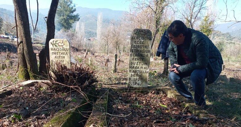 Aydın'da işçilerin dikkati şehit mezarını gün yüzüne çıkardı