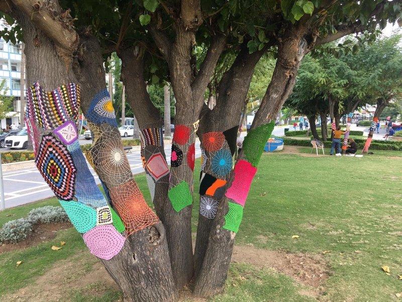 Marmaris'te renkli ağaçları görenler hayran kaldı