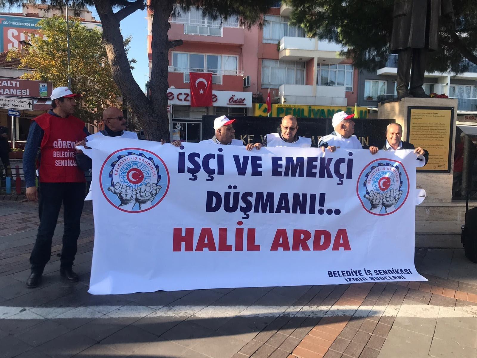 İzmir'de CHP'li Gaziemir Belediye Başkanı Halil Arda işçileri isyan ettirdi! Belediye binası önünde eylem yaptılar