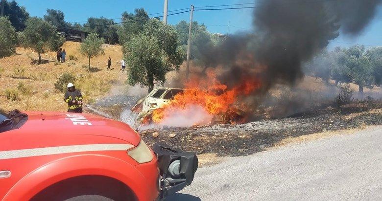 Muğla'da bir araç önce yandı sonra şarampole devrildi