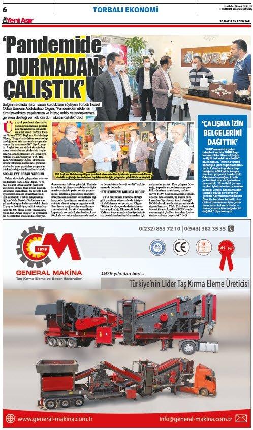 Yeni Asır Gazetesi Torbalı Ekonomi sayfaları 30 Haziran 2020