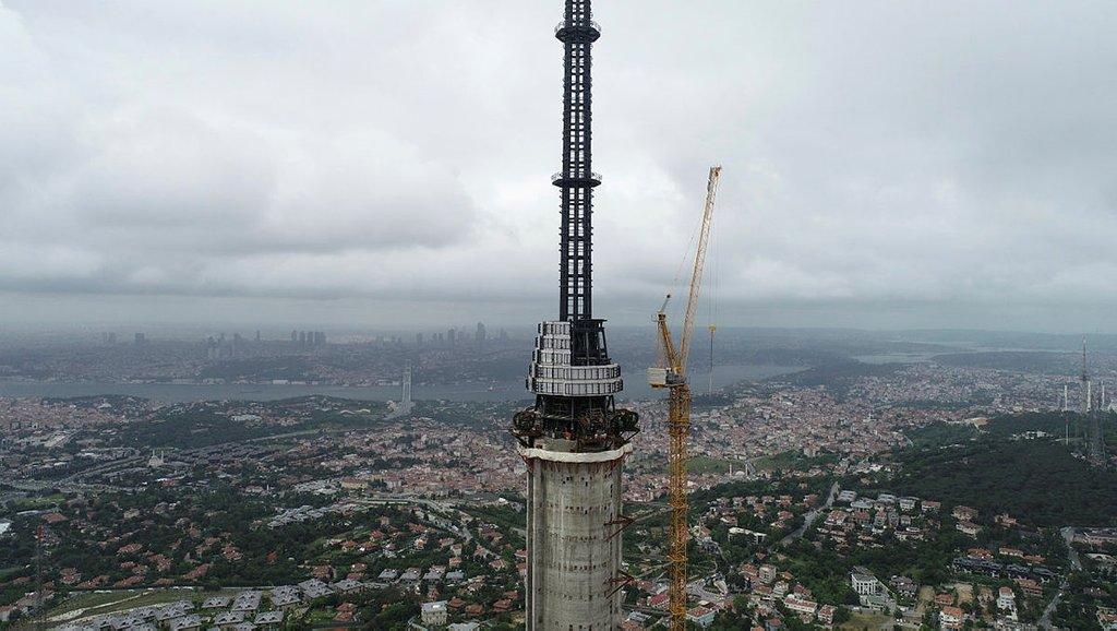 Çamlıca Kulesi'nin inşaatında gelinen son nokta havadan görüntülendi