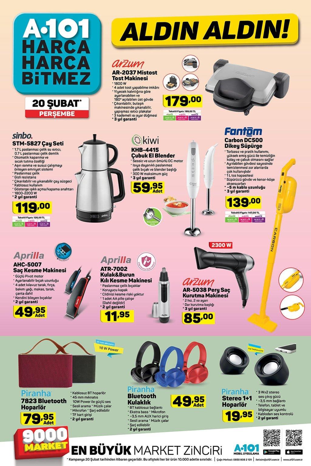 A101 aktüel ürünler kataloğu 20 Şubat Perşembe