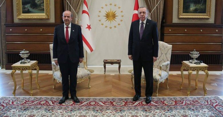 Son dakika: Başkan Erdoğan Külliye'de KKTC Cumhurbaşkanı Ersin Tatar ile görüştü