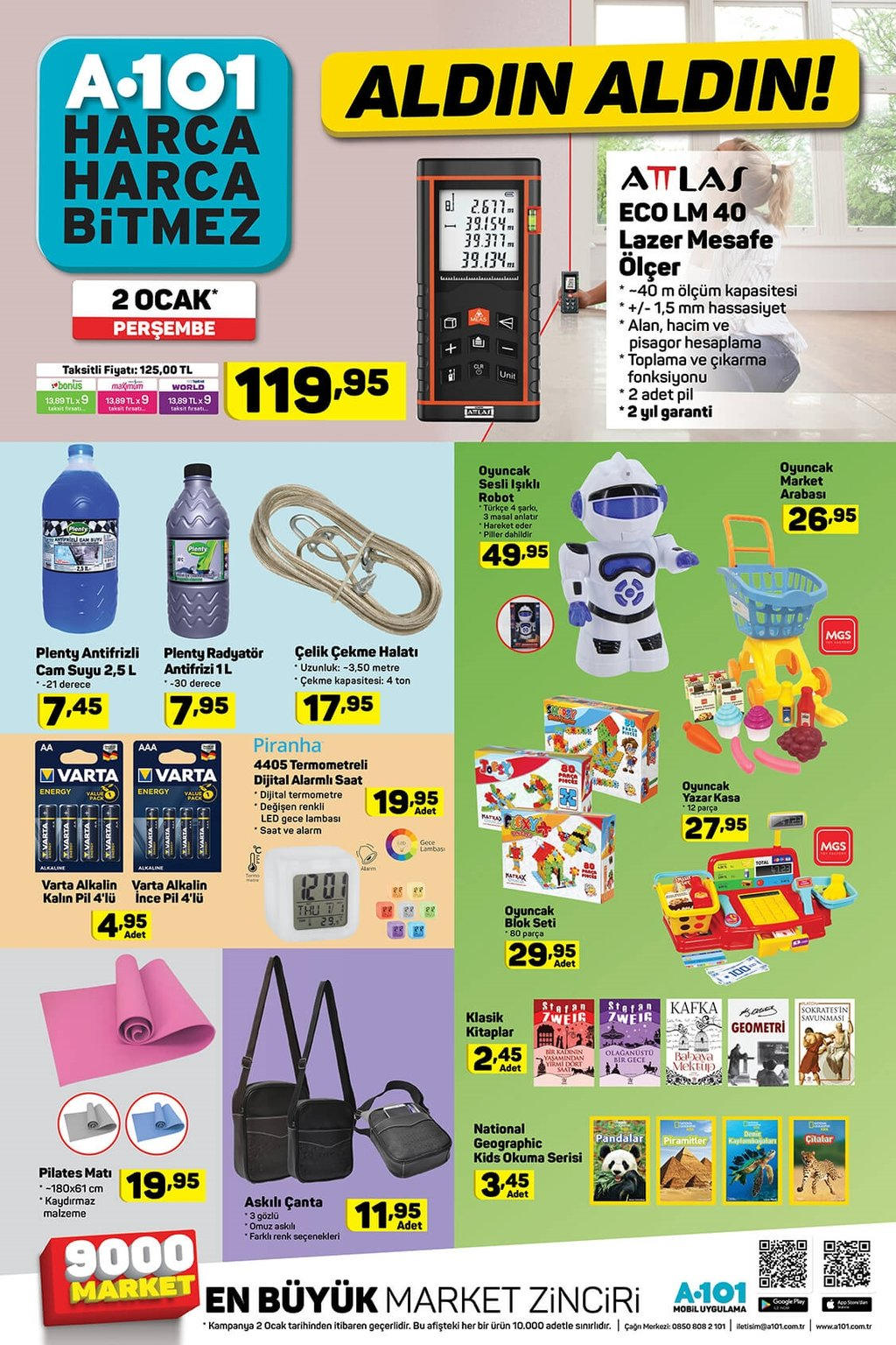 2 Ocak Perşembe A101 aktüel ürünler kataloğu indirimleri!