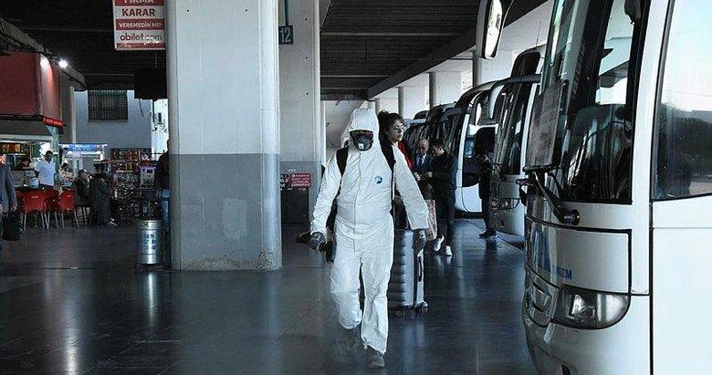 Otobüs terminali dezenfekte edildi