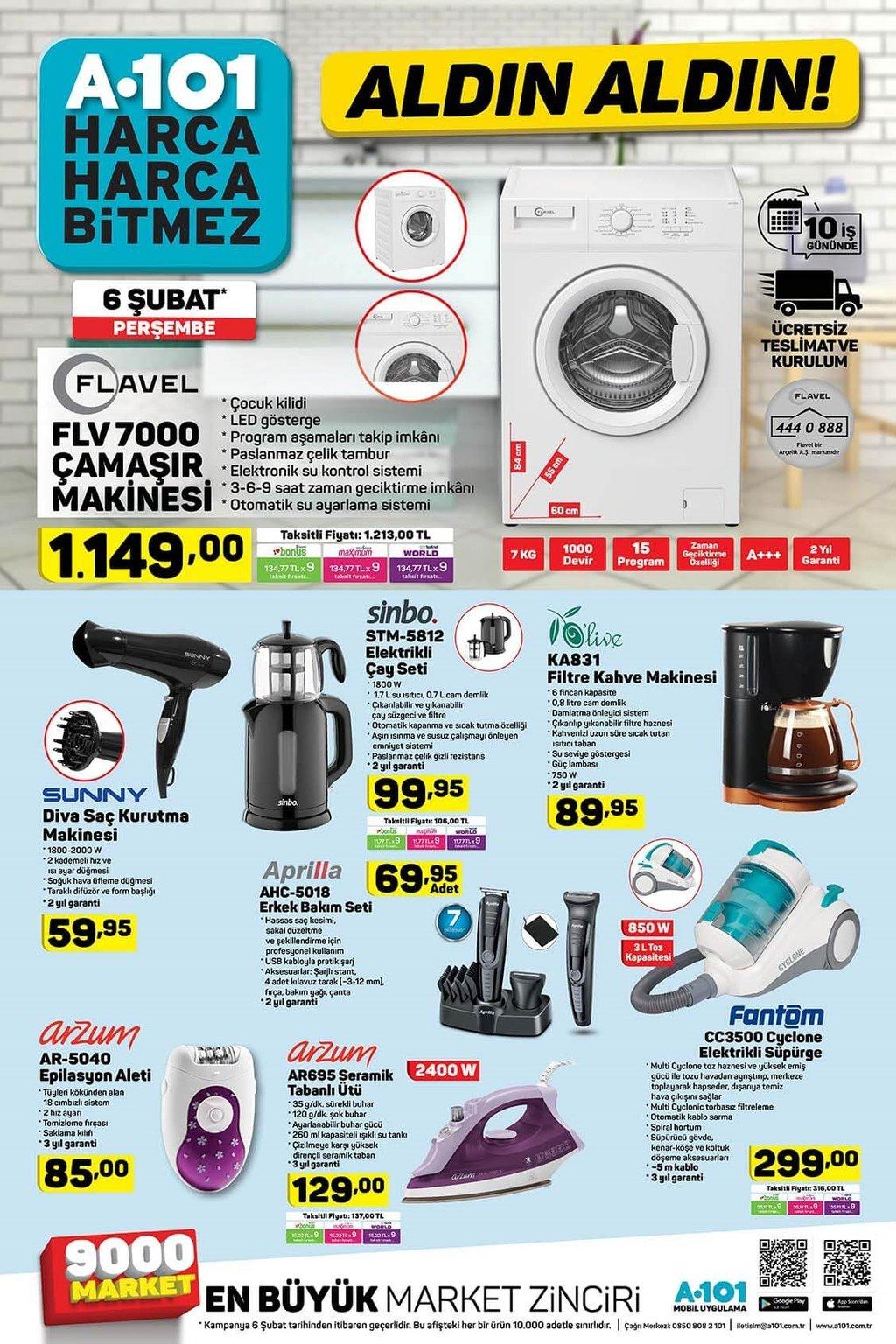 6 Şubat Perşembe A101 aktüel ürünler kataloğu indirimleri
