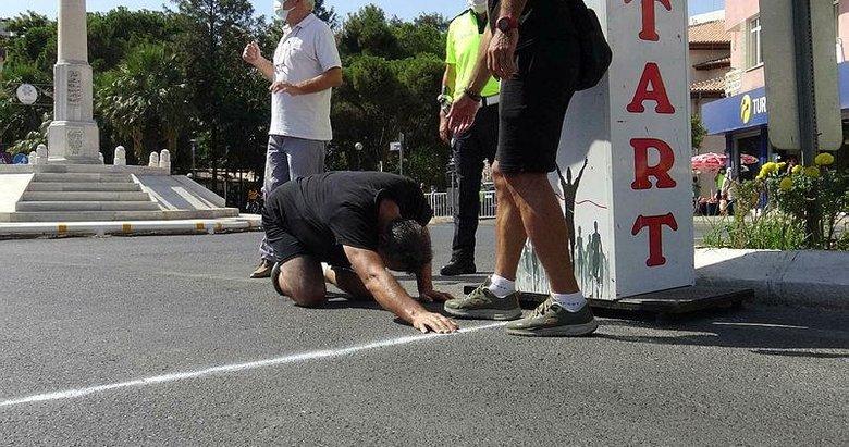 Gücü tükendi! Koşunun son 3 metresini emekleyerek bitirdi