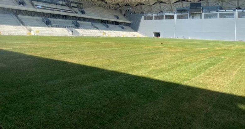 Alsancak Stadı'nda çimler tamam