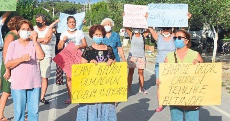 Dikili'de belediyeye kaldırım isyanı
