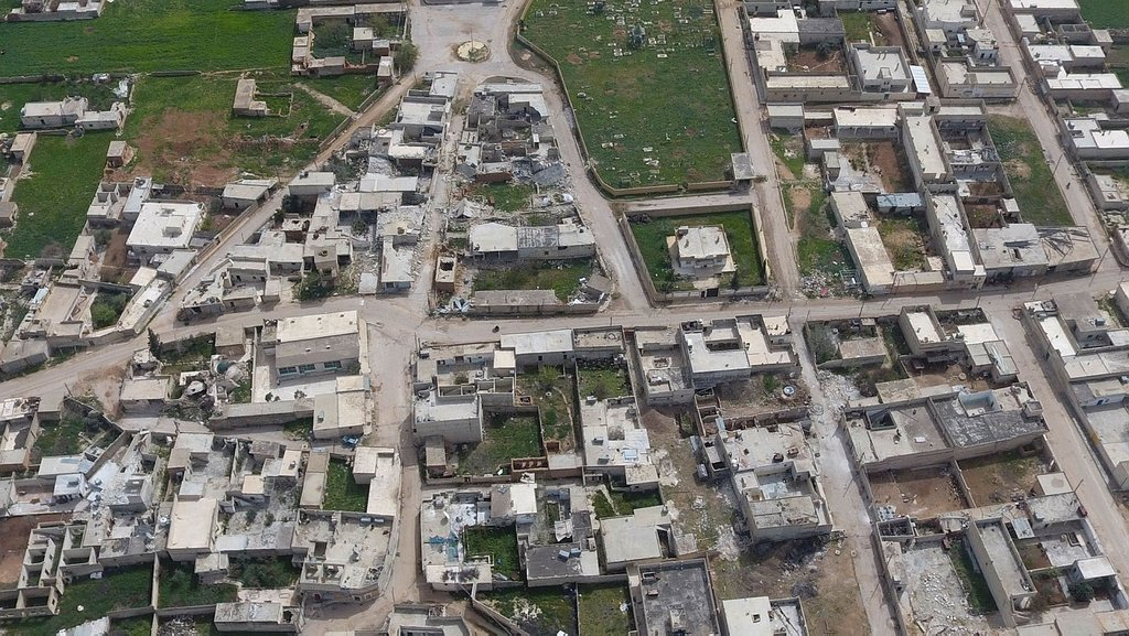 Teröristlerden arındırılan Tel Rıfat havadan görüntülendi
