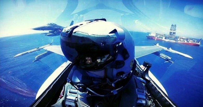 F-16'lar Doğu Akdeniz'de 'Yavuz'u selamladı