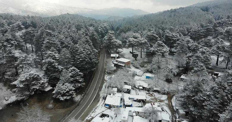 Kazdağları'ndan eşsiz kar manzaraları havadan görüntülendi