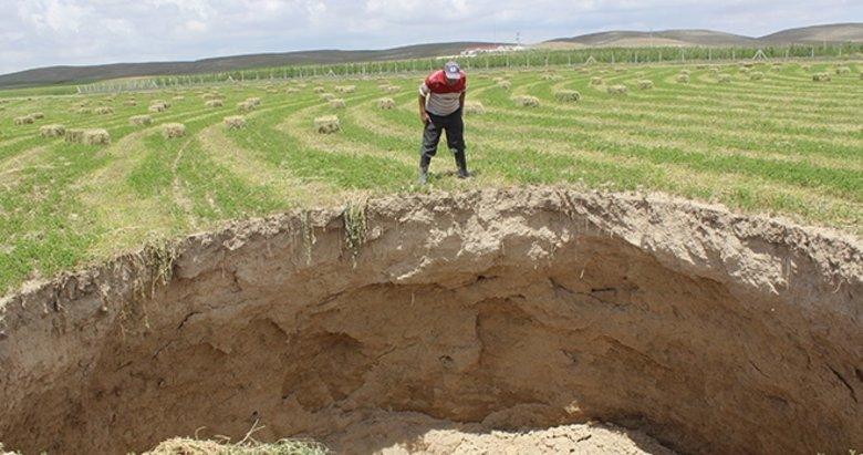 Yonca tarlasında 10 metrelik obruk oluştu