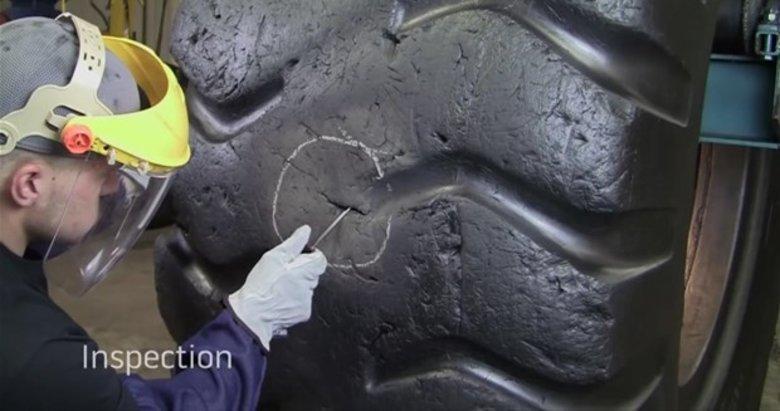Dev lastiği bakın nasıl tamir etti? Sosyal medyayı salladı