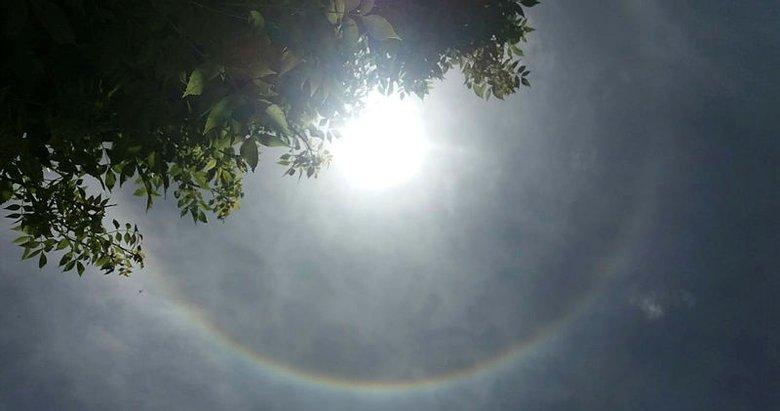 Uşak'ta güneşin etrafında gökkuşağı oluştu, vatandaşlar hayranlıkla izledi